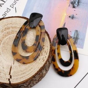 New Acrylic Animal Print Teardrop Loop Earrings